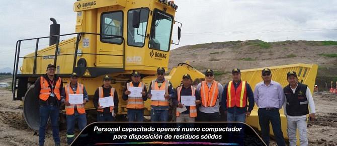 Personal capacitado operará nuevo compactador para disposición de residuos sólidos