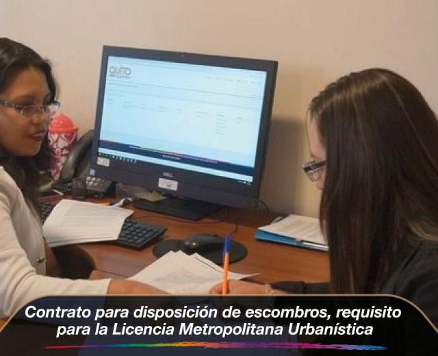 Contrato para disposición de escombros, requisito para la Licencia Metropolitana Urba