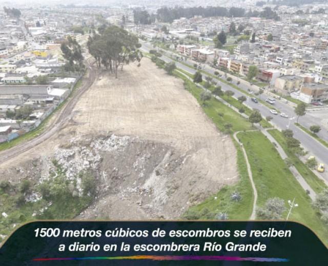 1500 metros cúbicos de escombros se reciben a diario en la escombrera Río Grande